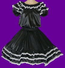 "BLACK SQUARE DANCE DRESS, OUTFIT BLOUSE SKIRT WAIST 35""-42"" SIZE LARGE"