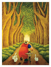 Home From The Market by Lowell Herrero Humorous Fat Lady Geese Bycycle Art 24x32