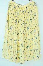 Jacque and COCO Micro pleated Sweeping chiffon floral yellow boho long skirt 18