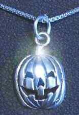 LOOK Halloween Pumpkin Face Jack-o'-lantern carving Sterling Silver 925 charm Je
