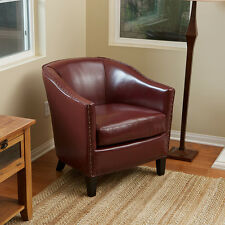 Wine Red Leather Tub / Barrel Design Club Chair w/ Nailhead Accents