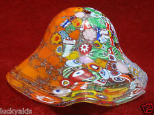 VTG ITALIAN MURANO MILLEFIORI HAND BLOWN ART GLASS SHADE RUFFLED EDGE w LABEL N2