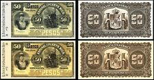 !COPY! 2 PUERTO RICO 50 PESOS 1894 BANKNOTES !NOT REAL!