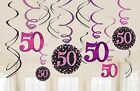 12 x 50TH BIRTHDAY HANGING PARTY SWIRLS PINK & BLACK DECORATIONS AGE 50