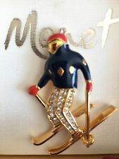 Monet Pin Brooch Skier Skiing Enamel Zirconia Designer Fashion Sport Fan Olympic