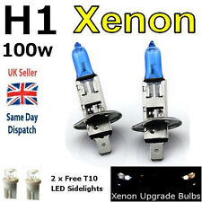 H1 100w SUPER WHITE XENON (448) Head Light Bulbs 12v + 501 LED Sidelights