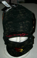 Ed Hardy Snow hat cap Ski Board Sled winter face mask earphone pocket heart Xmas