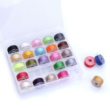 25Pcs Coloured Cotton Sewing Machine Thread String and Bobbins with Plastic Case