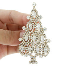 "3"" Merry Christmas Tree Brooch Pin Clear Austrian Crystal Holiday Party Gift"