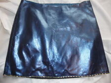 Sz 2/XS - ABS Metallic BLUE LEATHER Miniskirt, Excel Cond