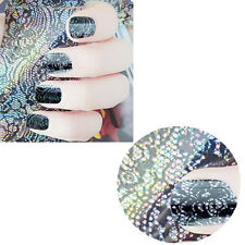 3D Black Lace Flower Transfer Foil Stickers Decals Nail Art Decoration DIY AC ID