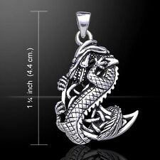 Dragon Clutching Celtic Moon .925 Sterling Silver Pendant by Peter Stone