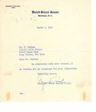 SENATOR MARGARET CHASE SMITH (D. 1995) SIGNED 1952 NOTE ON  SENATE LETTERHEAD