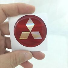 MITSUBISHI-EMBLEM-STICKER-LOGO-BULGE REFLEX PLASTIC 4.5X4.5 CM. RED DECAL