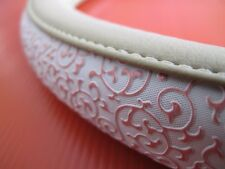 Tan Leather White Pink line Carved Lace Side Style Car Steering Wheel Cover