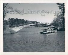 1966 Pontoon Boat Goes Under Arch Bridge Callaway Gardens Georgia Press Photo