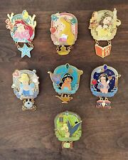Disney Princess Icons Dangle Trading Pin Complete set Ariel Aurora Belle Tink..