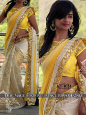 Refreshing Yellow Georgette And Russel Net Designer Party Wear Saree KT3024