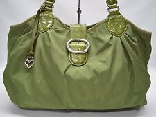 Brighton Nichelle Large Green Nylon Patent Leather Trim Buckle Flap Tote Bag