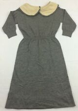 vintage 40s BEST & CO goldworm 5th ave smock frock gray knit WOOL mod DRESS 14