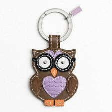 NEW Coach 92918 Brown Leather Owl Key Fob Key Ring Key Chain Charm