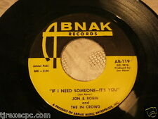 Jon & Robin and the in crowd If I need someone its you Abnak  45 record