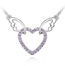 18K Gold GP SWAROVSKI Element Crystal Heart Double Wing Pendant Necklace Purple