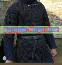 XL BUTTED CHAINMAIL SHIRT BLACKENED CHAIN MAIL ARMOR CHAINMAILE HAUBERGEON BLK