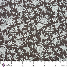 Fabric ½ Yard – AMERICAN WOMEN'S HOME – Windham – BUTTERFLY / FLORAL / BROWN