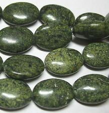 "Russian Serpentine 13x18mm Puffy Oval Beads 16"" Light to Dark Green Stone"