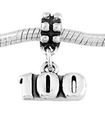 STERLING SILVER DANGLE NUMBER 100 - 100 YEARS EUROPEAN STYLE BEAD