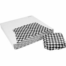 "Restaurant Deli Paper Food / Basket Liner Wrap, 12""x12"" Black Checkered, 3000ct"