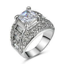 Classic White Topaz Gemstone Jewelry Silver Platinum Plated Women Men Ring Size9