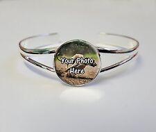 Personnalisé greyhound photo sur un plaqué argent bracelet bangle cadeau d'anniversaire