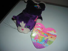 "LISA FRANK FANTASTIC BEANS PURPLE CAT KITTEN PLAYTIME 7"" BEAN BAG PLUSH TOY"