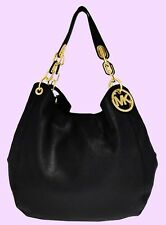 MICHAEL KORS FULTON Black Leather Shoulder Tote Bag Msrp $398