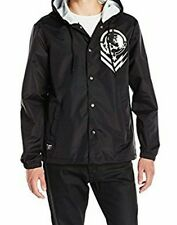Metal Mulisha New Check Coaches Jacket Black Hooded Snap Light Weight US Size L