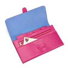 Aspinal of London Classic Travel Wallet in Raspberry Lizard RRP £130