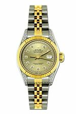 LADIES 26MM ROLEX WATCH 18K GOLD SS DIAMOND CASE WATCH WITH YELLOW CHAMPAGNE