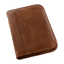 """Aston New York Genuine Leather Collectors Zippered 10-Pen Case, Tan"""
