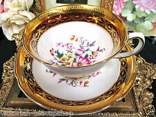 ROYAL GRAFTON TEA CUP AND SAUCER MAROON & GOLD GILT FLORAL TEACUP PATTERN