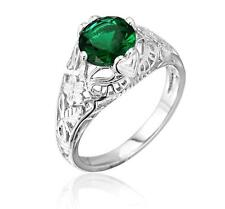 Art Deco Emerald Filigree Engraved Engagement Ring Sterling Silver Size 6