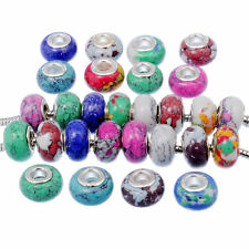 Mixed Real Stone Murano Charm Bead Fit European Charm Bracelet Handmade 100pcs
