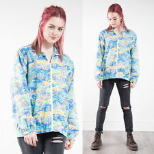 VINTAGE BLUE ABSTRACT PATTERN BOMBER JACKET ZIP FASTEN CASUAL OVERSIZE 16
