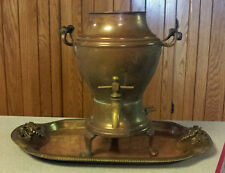 Antique 1906 Manning Bowman Samovar (decorative use) & Heavy Brass Serving Tray