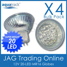 4 x 12V 20-LED MR16 WHITE DOWN LIGHT GLOBES - Boat/Caravan/Cabin/RV/Down Lights