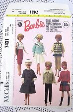 7431 SEWING&KNITTING PATTERN~BARBIE DOLL CLOTHES~1964~COAT&HAT&BLOUSE&SKIRT++