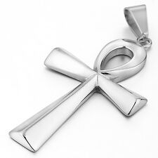 MENDINO Big Men's Stainless Steel Pendant Necklace Egyptian Ankh Cross Silver