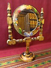 "Mexican Folk Art Hand Painted Wood Carved Vanity Makeup Swivel Mirror 13"""