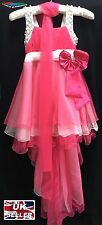 GIRLS PINK DRESS TRAIL PROM PARTY CHRISTENING BRIDESMAID WEDDING XMAS FLOWERGIRL